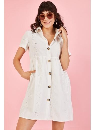 ESQ Düğmeli Fisto Elbis Beyaz